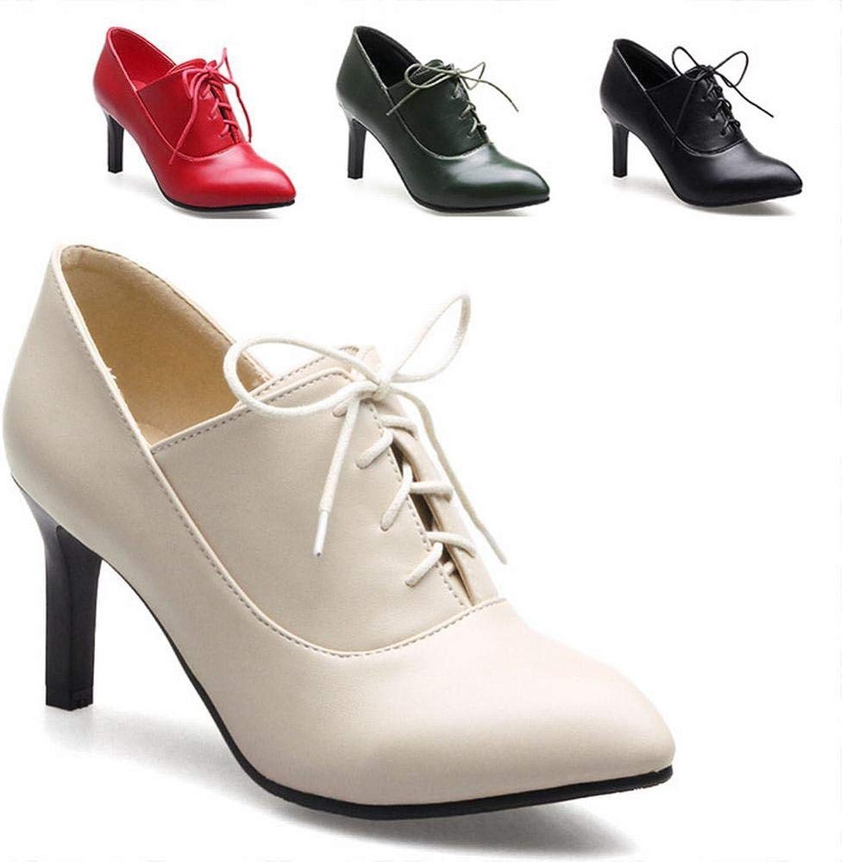 IG Damenschuhe - Schnürsenkel Martin Stiefel Spitze Stiletto Stiefel High High High Heel 7.5Cm   Einzelne Stiefel 35-43,Polieren,38  d34966
