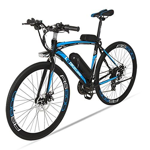 Extrbici bicicleta eléctrica RS600 MTB Bicicleta de montaña 700C x 28C-40H aleación de aluminio marco 240W 36V 20A Shi-mano 21 velocidades con suspensión delantero 3 PAS doble freno de disco mecánico