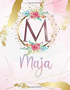 Paperback Maja: Personalized Sketchbook with Letter M Monogram & Initial/ First Names for Girls and Kids. Magical Art & Drawing Sketch Book/ Workbook Gifts for ... Rose Gold Watercolor Cover. (Maja Sketchbook) Book