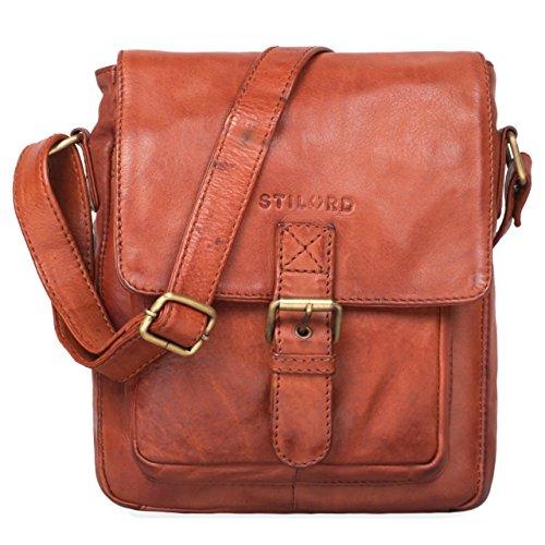 STILORD 'Arne' Leder Messenger Bag klein Umhängetasche 8,4 Zoll Tablet Hülle Schultertasche Tablettasche weiches Rindsleder, Farbe:Cognac - Used