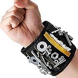 MYCARBON Bracelet magnétique avec 15 aimants puissants forts pour les vis de maintien, clous, trépans de forage, 2 sacs de rangement invisibles, Pratiquement être porté d'une main