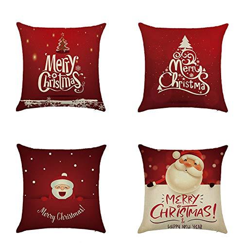 fsafa Navidad Throw Pillow Case Xmas Cushion Covers Square Linen Zapatos De Almohada De Tiro Home Decor For Living Room Sofá Couch Set De 4 (Serie Roja, Dibujos Animados Santa Claus)