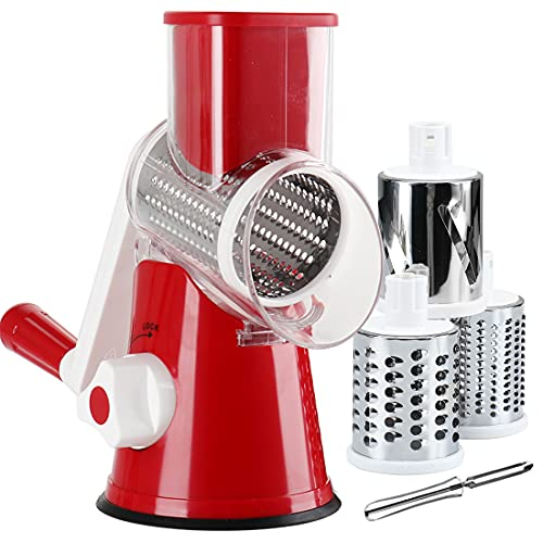KEOUKE Vegetable Slicer Cheese Grater-Mandoline Slicer Rotary Drum Grater with a Stainless Steel peeler