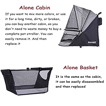 ROODO Escort Pet Stroller Dog and cat pet Three-Wheeled cart - Lightweight, Compact, Portable, Practical, Removable, Change Color (Black special edition) 5