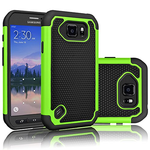 Galaxy S6 Active Case, Tekcoo(TM) [Tmajor Series] [Green/Black] Shock Absorbing Hybrid Rubber Plastic Impact Defender Rugged Slim Hard Case Cover Shell for Samsung Galaxy S6 Active AT&T SM-G890