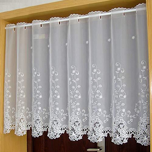 Yujiao Mao 1er Pack Halbtransparent Besticke Weiß Blumen Scheibengardine Küchen Vorhang Tür Gardine J13 HxB 90cmx150cm