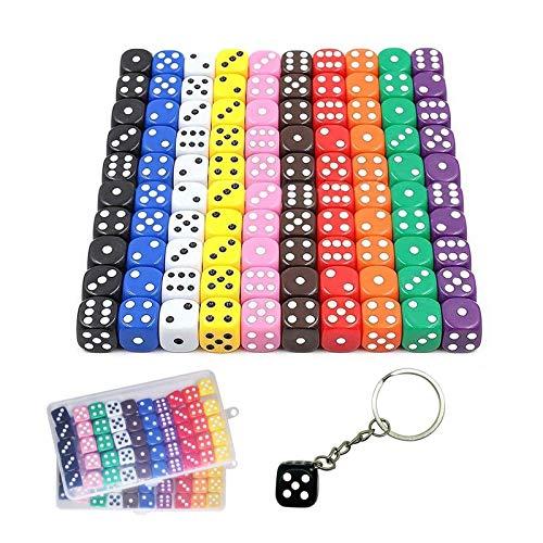 Aynsv 100 Piezas 6 - Caras Dados Set (Free Caja de almacenamiento), 10 Colores Diferentes 16mm acrílico Dados para Tenzi, Farkle, Yahtzee, Bunco o la enseñanza de Las matemáticas