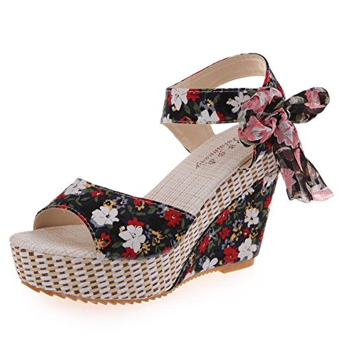 Elevin(TM) Women Summer Fashion Peep-Toe Bohemia Wedges High Platform Flip Flops Sandal Shoes (5.5US, Black)