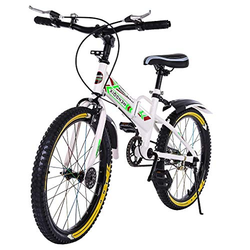 Outroad Mountain Bike (Ship from US), 20 in Carbon Steel Bicycle, Double Disc Brake, Full Suspension Folding Bike for Adult Teens MTB Bikes with Water Bottle Bag (White, 20 inch)