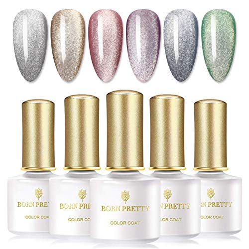 BORN PRETTY Snowlight Magnetic Gel Polish Pink Nude Cat Eye UV Gel Semi-transparent Soak Off Gel Nail 6 Bottles 6ml