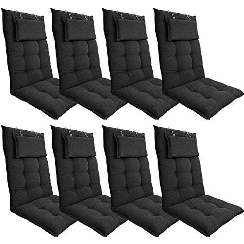DILUMA | Hochlehner Auflagen 8er Set 119x50 cm Luxor Anthrazit mit Kopfpolster | Luxus Stuhlauflage mit 8 cm Polsterung