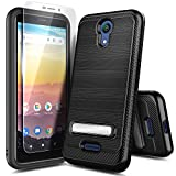 NZND Case for AT&T Calypso (U318AA) /Cricket Vision 3 with Tempered Glass Screen Protector, Carbon Fiber Brushed with Kickstand, Shockproof Protective Hybrid Case Cover (Black)