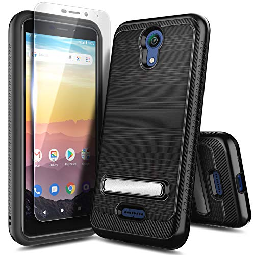 NZND Case for AT&T Calypso (U318AA, 2020 Release) with Tempered Glass Screen Protector, Carbon Fiber Brushed with Kickstand, Shockproof Protective Hybrid Case Cover (Black)