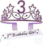 3rd Birthday Gifts for Girls, 3rd Birthday Tiara and Sash, HAPPY 3rd Birthday Party Supplies, 3rd Birthday Girl Glitter Satin Sash and Crystal Tiara Birthday Crown for 3rd Birthday Party Supplies