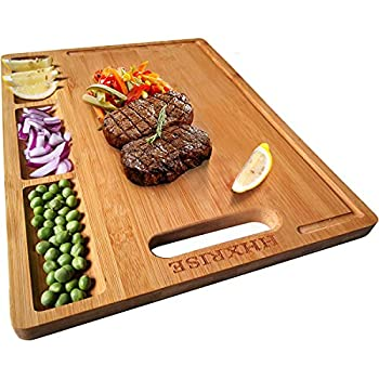 HHXRISE Large Organic Bamboo Cutting Board For Kitchen With 3 Built-In Compartments And Juice Grooves Heavy Duty Chopping Board For Meats Bread Fruits Butcher Block Carving Board BPA Free…