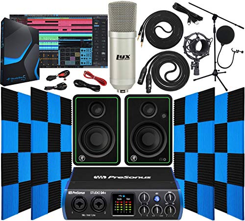 PreSonus Studio 24c 2x2 USB TypeC Audio/MIDI Interface with Mackie CR3X Pair Studio Monitors 24 Pack Acoustic Soundproof Studio Foam Wedges Sound Insulation Panels