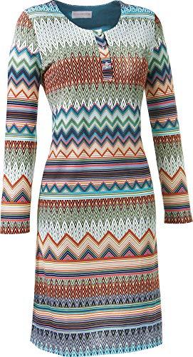 Hutschreuther Damen-Nachthemd Single-Jersey Petrol/orange/grün Größe 38