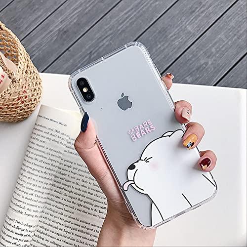 Cute Cartoon Panda Bear Funda de Silicona a Prueba de Golpes para iPhone 11 Pro 12 Mini XR XS MAX 8 7 6 6S Plus Pareja Clear Soft TPU Cover para iPhone 7 Polar Bear