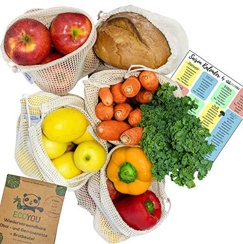 EcoYou® Wiederverwendbare Obst- & Gemüsebeutel aus Bio Baumwolle 5er Set Inkl. Brotbeutel & SAISONKALENDER - Nachhaltige Einkaufsnetze Obst- & Gemüsenetze mit Gewichtsangabe