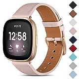 CeMiKa Cinturino in Pelle Compatibile con Fitbit Sense/Fitbit Versa 3, Cinturini di Ricambio in Vera Pelle Compatibile con Fitbit Sense/Fitbit Versa 3 Cinturino, Sabbia Rosa/Oro Rosa