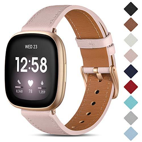 CeMiKa Correa de Cuero Compatible con Fitbit Sense/Fitbit Versa 3, Correas de Repuesto de Cuero Genuino Compatible con Fitbit Sense/Fitbit Versa 3 Correa, Arena Rosa/Oro Rosa