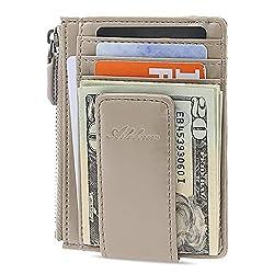 AslabCrew Money Clip, Front Pocket Wallet, Genuine Leather RFID Blocking Magnet Zipper Wallet, Glam-Beige