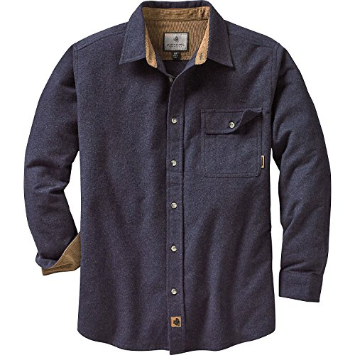 Legendary Whitetails Men's Buck Camp Flannel Shirt (Navy Heather, X-Large)