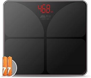 Básculas Peso por Metro Medidor de Impedancia de baño Digital inalámbrico visión Nocturna Temperatura de pérdida de Peso de medición Home Fitness Pila AAA (Color : Black, Size : 28 * 24.5 * 1.7cm)