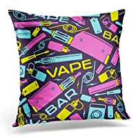 装飾的な枕カバー青いタバコの蒸気を吸うバーの色ダークパープル電子投球枕ケース正方形の家の装飾枕カバー45x 45 cm