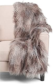 Cynthia Rowley Mongolian Faux Fur Throw Blanket Mixed Colors Gray