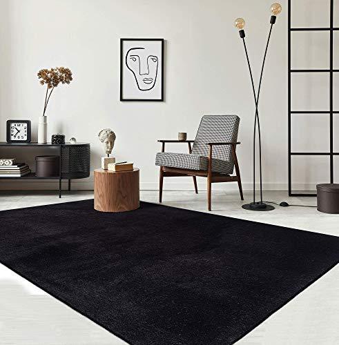 Relax Moderner Flauschiger Kurzflor Teppich, Anti-Rutsch Unterseite, Waschbar bis 30 Grad, Super Soft, Felloptik, Schwarz, 120 x 170 cm