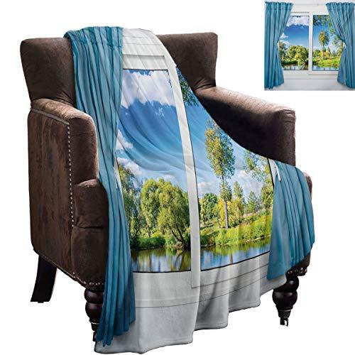Cobija de felpa suave con vista rural desde la ventana, reflexión en el agua, árbol en verano, franela de forro polar, manta de microfibra, 90 x 70 pulgadas, pizarra, azul, verde, blanco