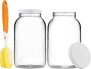 Artcome 1-Gallon Glass Jar Wide Mouth with 2 Airtight Plastic Lids, 4 Muslin Cloths, 2 Rubber Bands, 2 Gold Mats and a Bru...