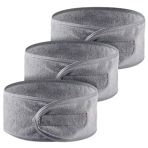 Queta Haarband für Make Up, Kosmetik Stirnband Frottee, verstellbare Haarschutzband mit Klettverschluss 3pcs (Grau)