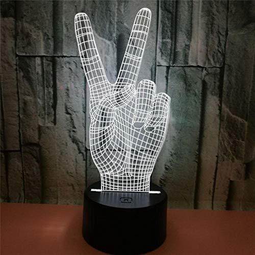 DAJIE Handsieg - Lámpara LED 3D con diseño de la mano del año y del año, luz visual 3D, decoración USB, ilusión de mesa, cama, dormitorio, luz nocturna, decoración del hogar
