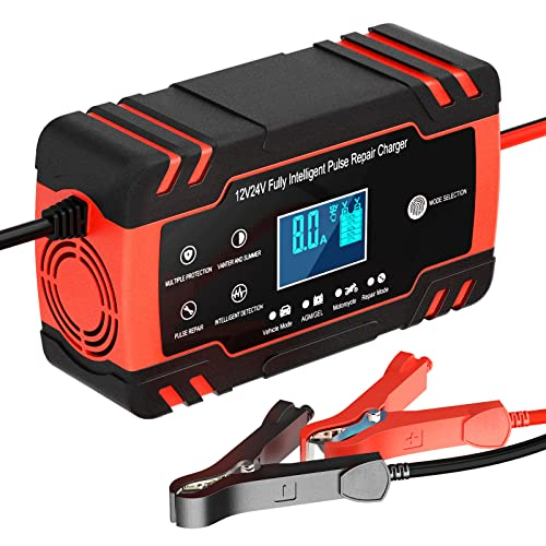Ladegerät Autobatterie, 12V/24V 8A KFZ Batterieladegerät Vollautomatisches Intelligentes Erhaltungsladegerät, LCD-Bildschirm Vollautomatisches Ladegerät für Auto, Motorrad, Rasenmäher oder Boot