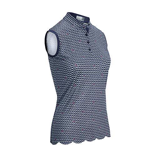 Callaway Allover Flamingo Print Shirt Damen Ärmelloses Golfpolo Peacoat M