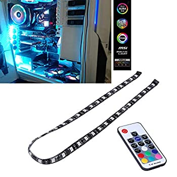 DS PC RGB LED Light Strip via Magnetic for Computer Case Mid Tower Full Tower  60CM SATA Connector H Series
