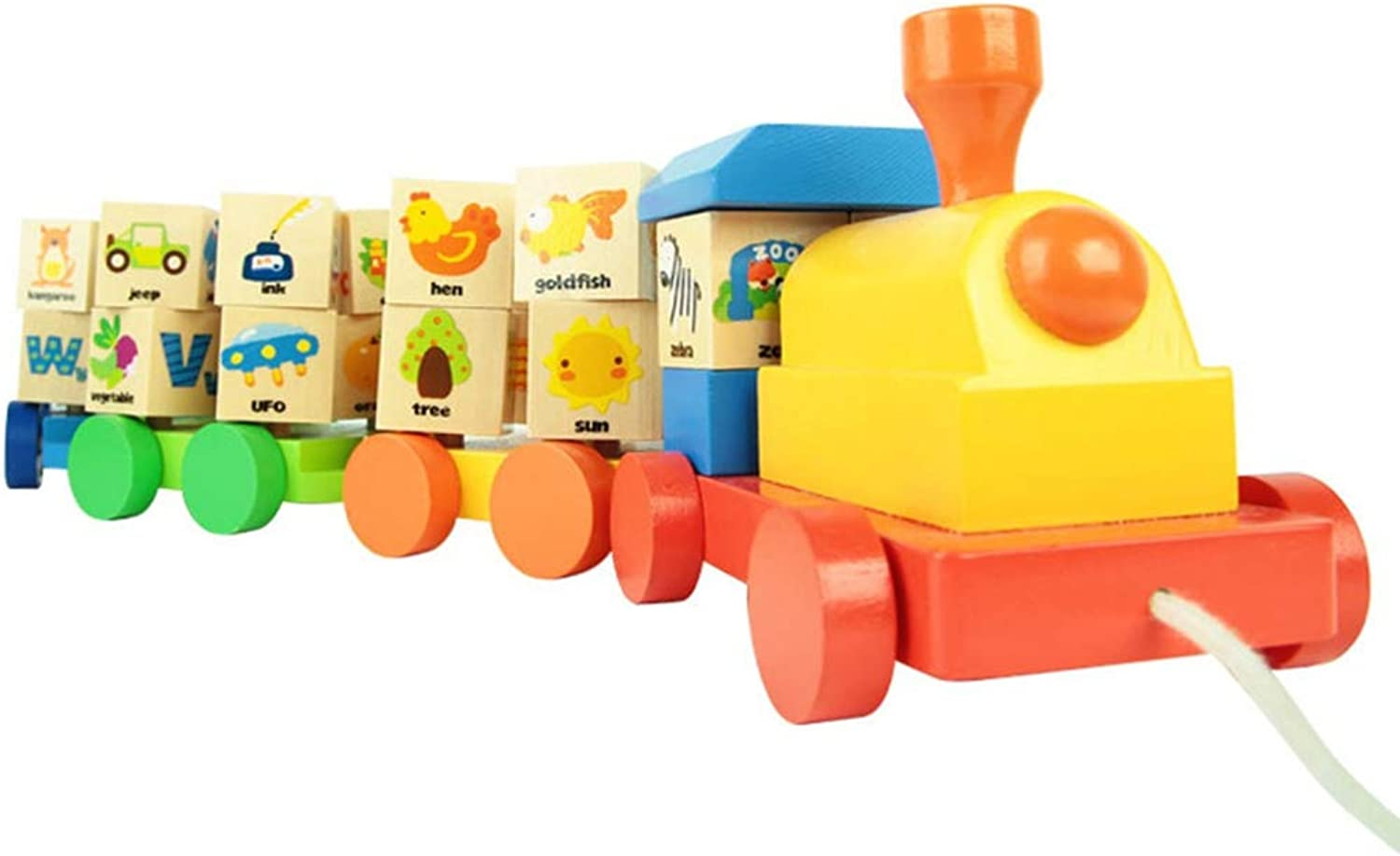 Xiaoyue Wooden Geometric Blocks Train Building Stacking Set Toy,PreKindergarten Toys,Assembly Pull Along Puzzle For Kids