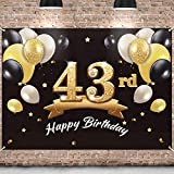 PAKBOOM Happy 43rd Birthday Banner Backdrop - 43 Birthday Party Decorations Supplies for Men - Black Gold 4 x 6ft
