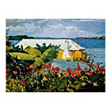 Winslow Homer Art Flower Garden and Bungalow Rompecabezas de 1000 Piezas para Adultos y familias, Rompecabezas clásico con Motivos Finos, colección de Arte, 50 x 75 cm