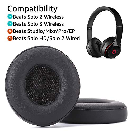 Krone Kalpasmos Earpad Replacement for Beats Solo 2 & 3 Ear Cushion Premium Protein Leather Memory Foam with Kits, Superb Comfortable & Easy to Install – Black