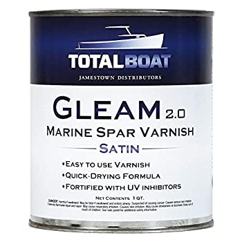 TotalBoat Gleam Marine Spar Varnish Gloss and Satin Polyurethane Finish for Wood Boats and Outdoor Furniture  Satin Low-Sheen Quart