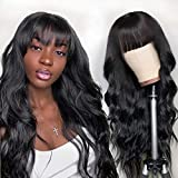 Allove Brazilian Body Wave HumanHairWigswithBangs for Black Women None Lace Front Wigs Human Hair with Bangs 10A 150% Density Glueless Machine MadeWigs Natural Color (24inch, Body Wave Wigs)