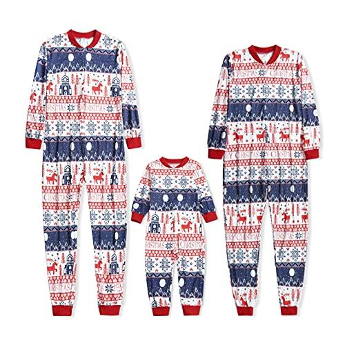 Familia Navidad Mono Una Pieza Pijamas Hombre Mujer Niños Bebé Invierno Navideñas Impreso Mono Bodysuit Familia Pijama Ropa de Casa Fiestas Entrega de Regalos Sudadera Chándal Casual Homewear