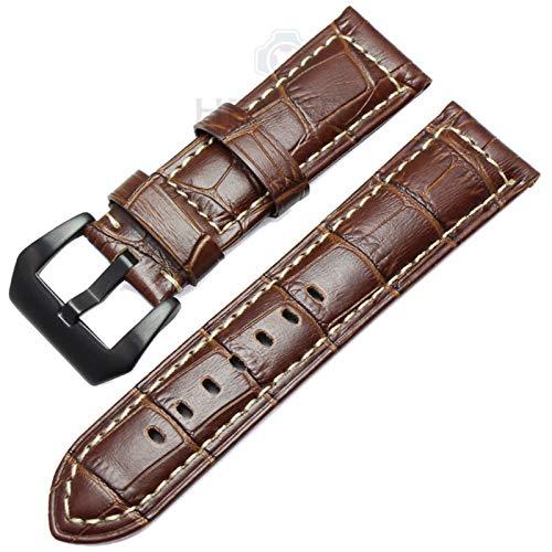 HNGM Correa Reloj Cuero 22 mm 24 mm Strap de la Vendimia Hecha a Mano de los Hombres de la Correa Suave de los Hombres con la Hebilla de Plata (Band Color : Purple)