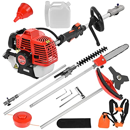 LINMOUA Gas String Trimmer,5 in 1 Brush Cutter Grass 52cc Petrol Hedge String Trimmer Gas Powered Chainsaw Pole Saw Included Extension Pole Multifunction Garden Tools for Tree Trimming