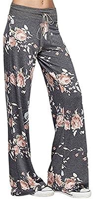 X-Image Print Palazzo Pants Women's Comfy Soft Stretch Wide Leg Polka Floral Pajama Lounge Dark Grey 1, Small