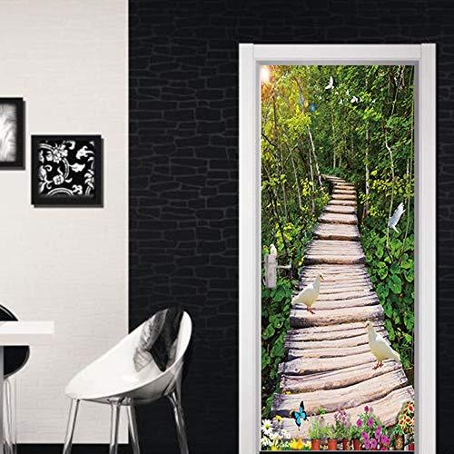 KUNHAN deur muurschildering 3D simulatie tuin enkele houten brug deur Stickers gang scherm veranda Stickers