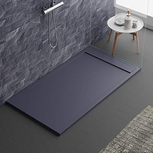 Plato de ducha de color antracita RAL7016 de mineralmármol, efecto piedra pizarra, serie Lisboa, Slim 3 cm, revestimiento de gelcoat, antideslizante